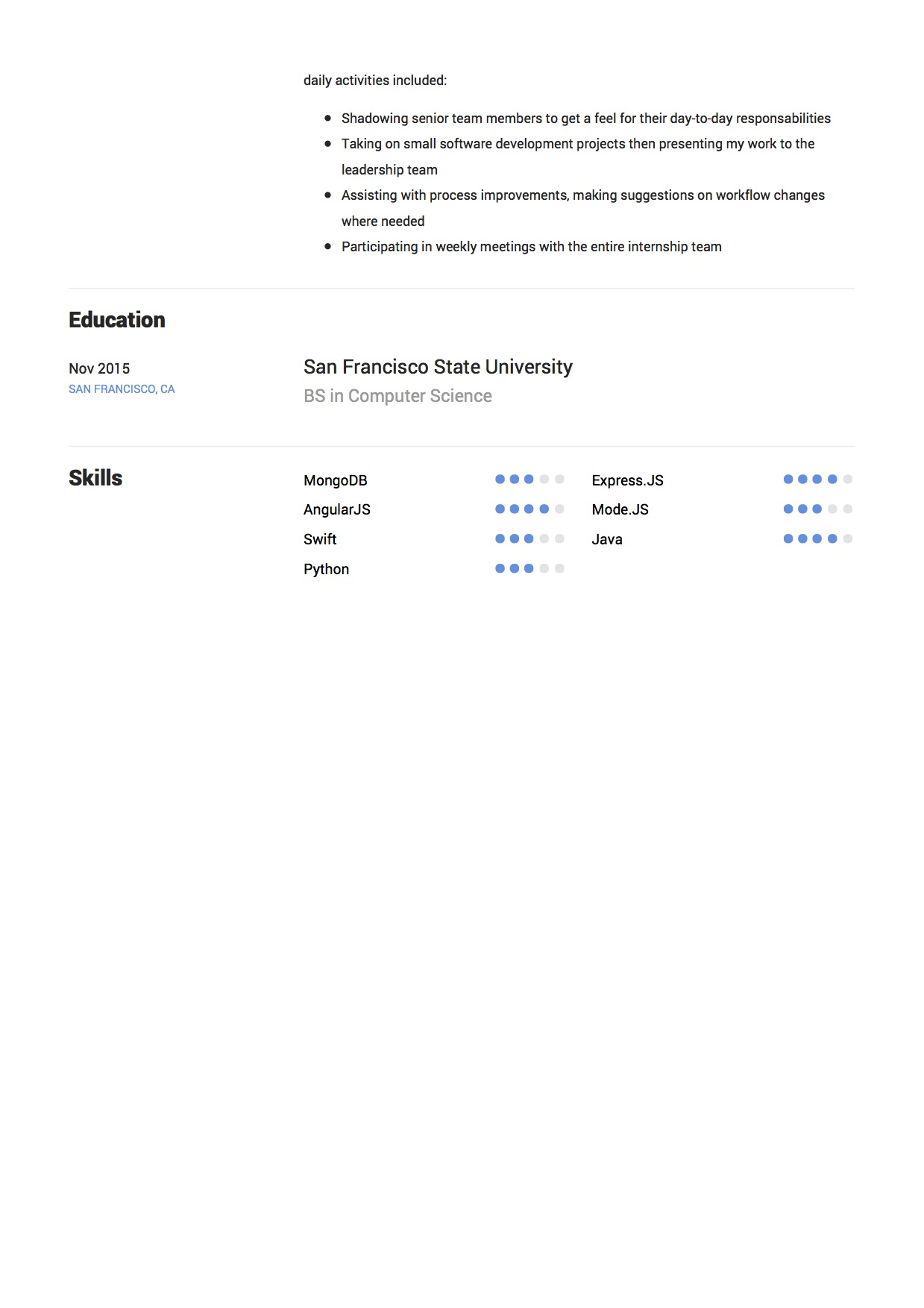 Elliot Alderson - Resume - Software Developer (9.1)