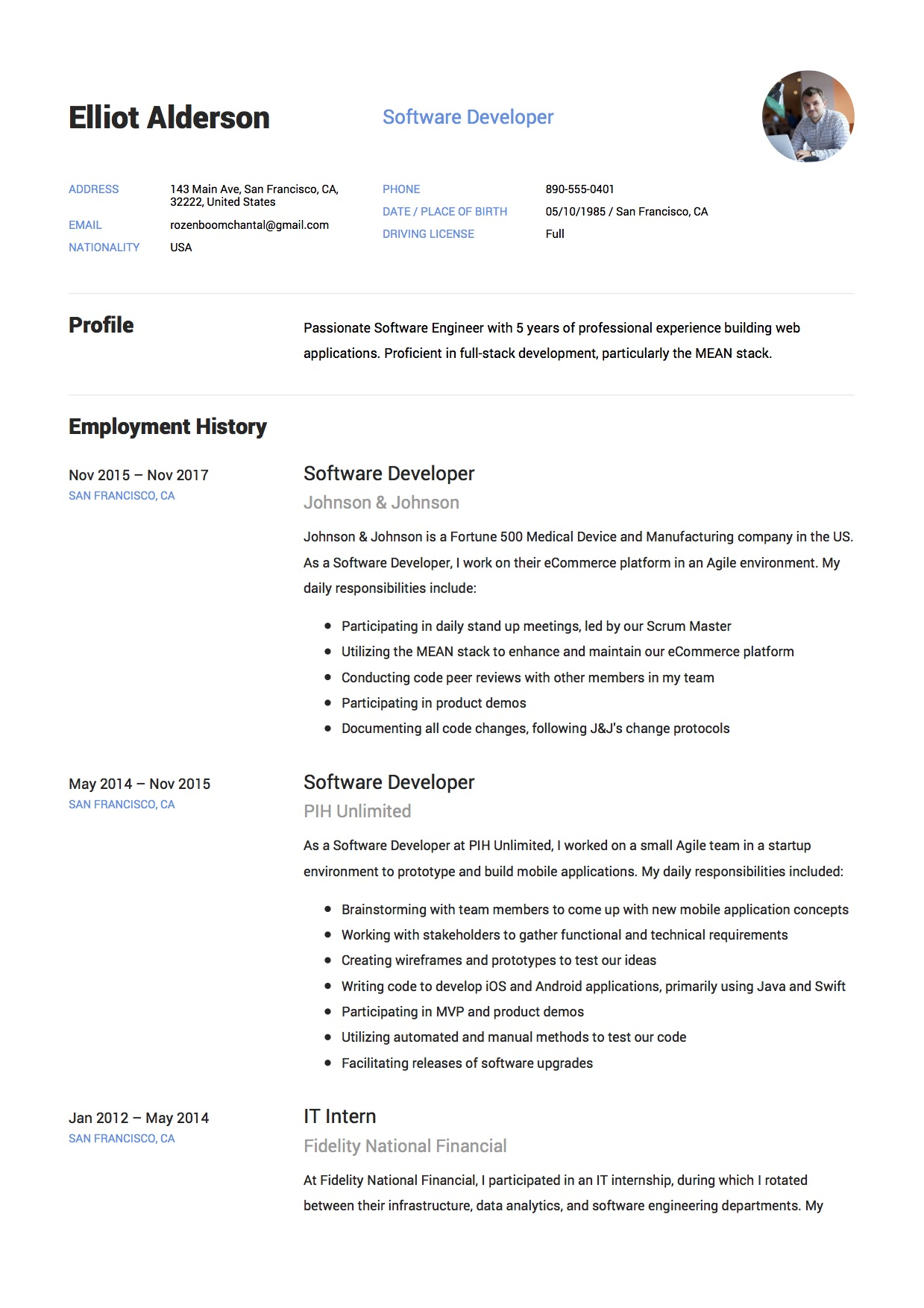 Elliot Alderson   Resume   Software Developer (9)  Resume Software Developer