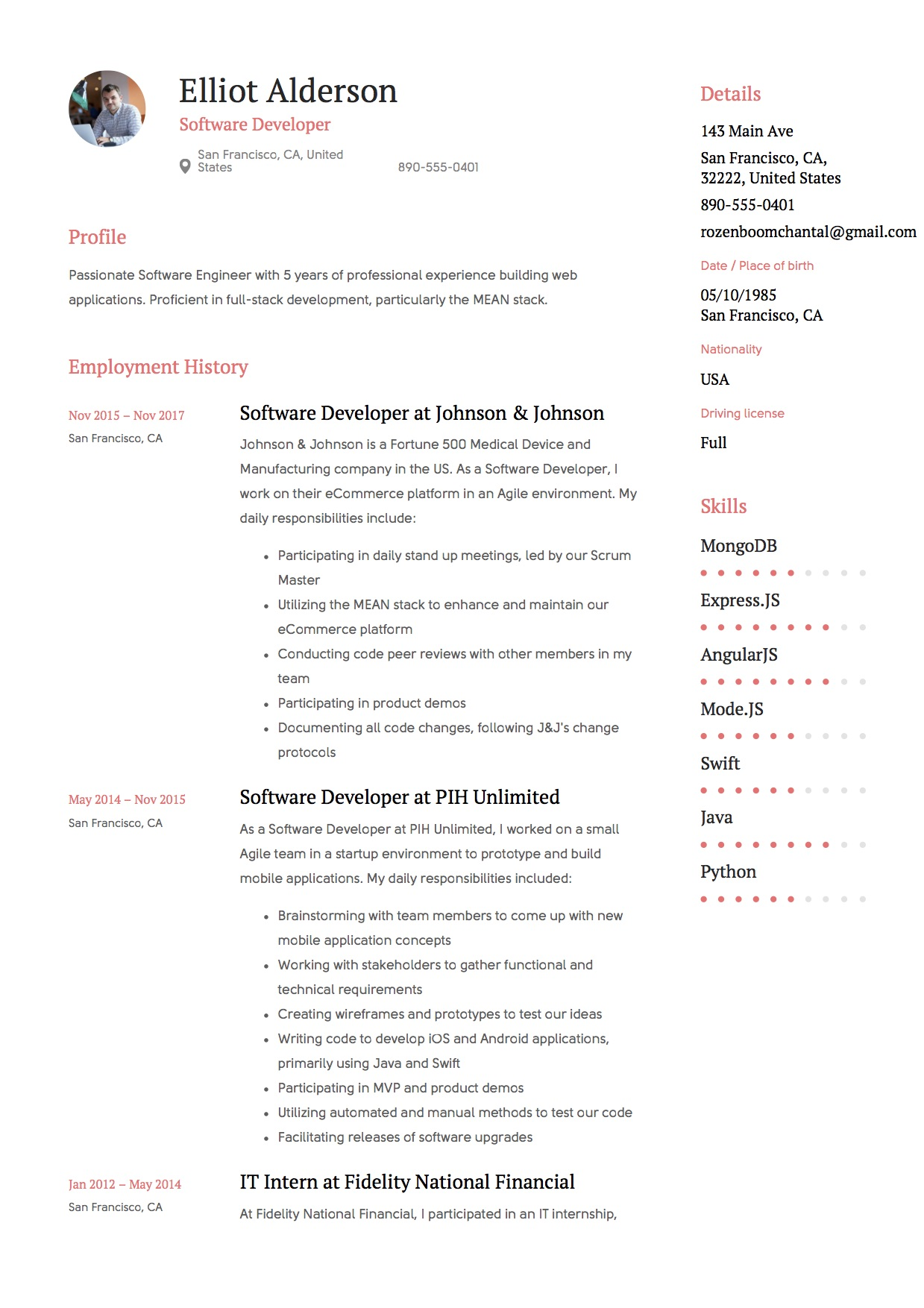 oftware developer resume example6 - Angularjs Developer Resume