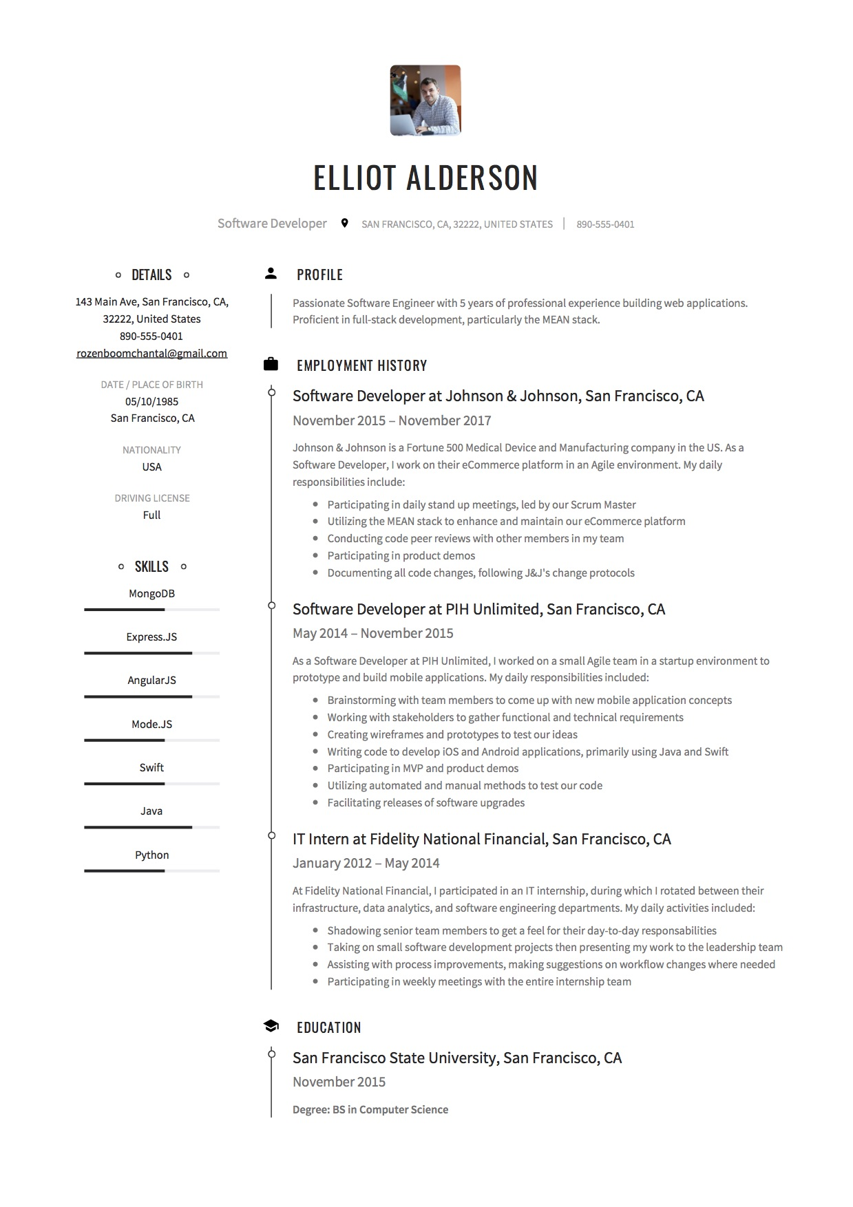 elliot alderson software developer resume sample1