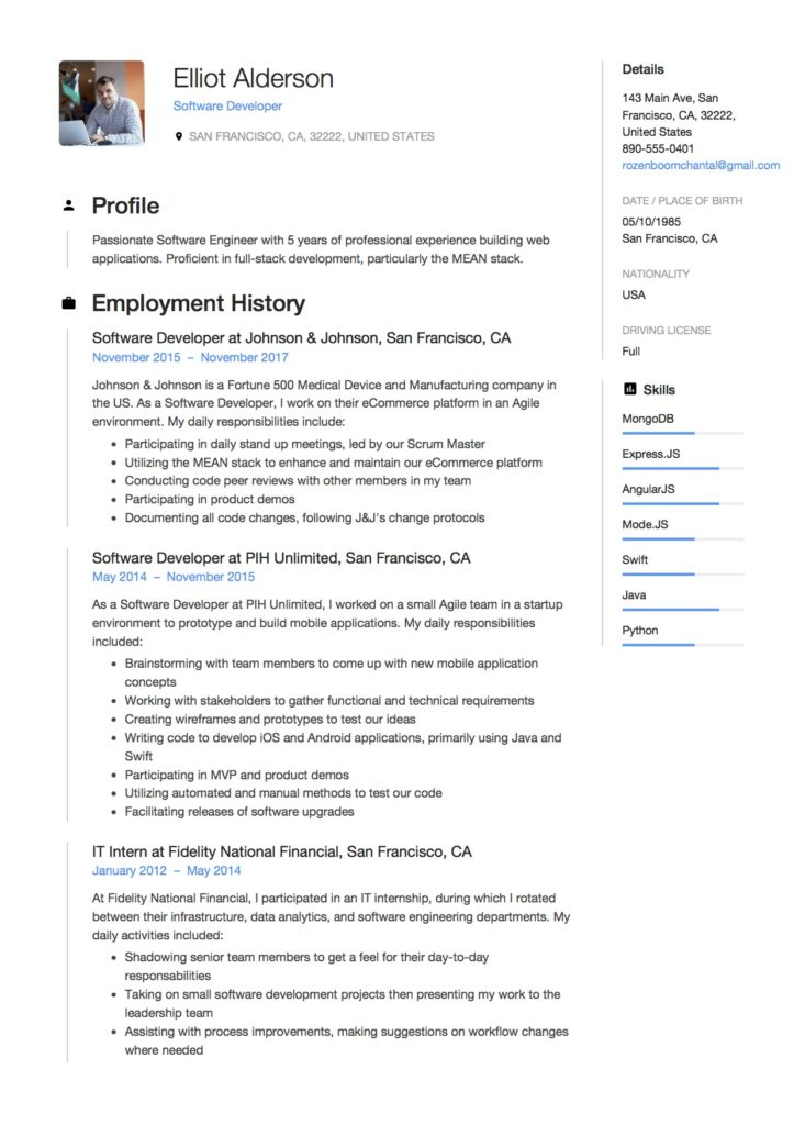 Elliot Alderson - Software Developer Resume Samples