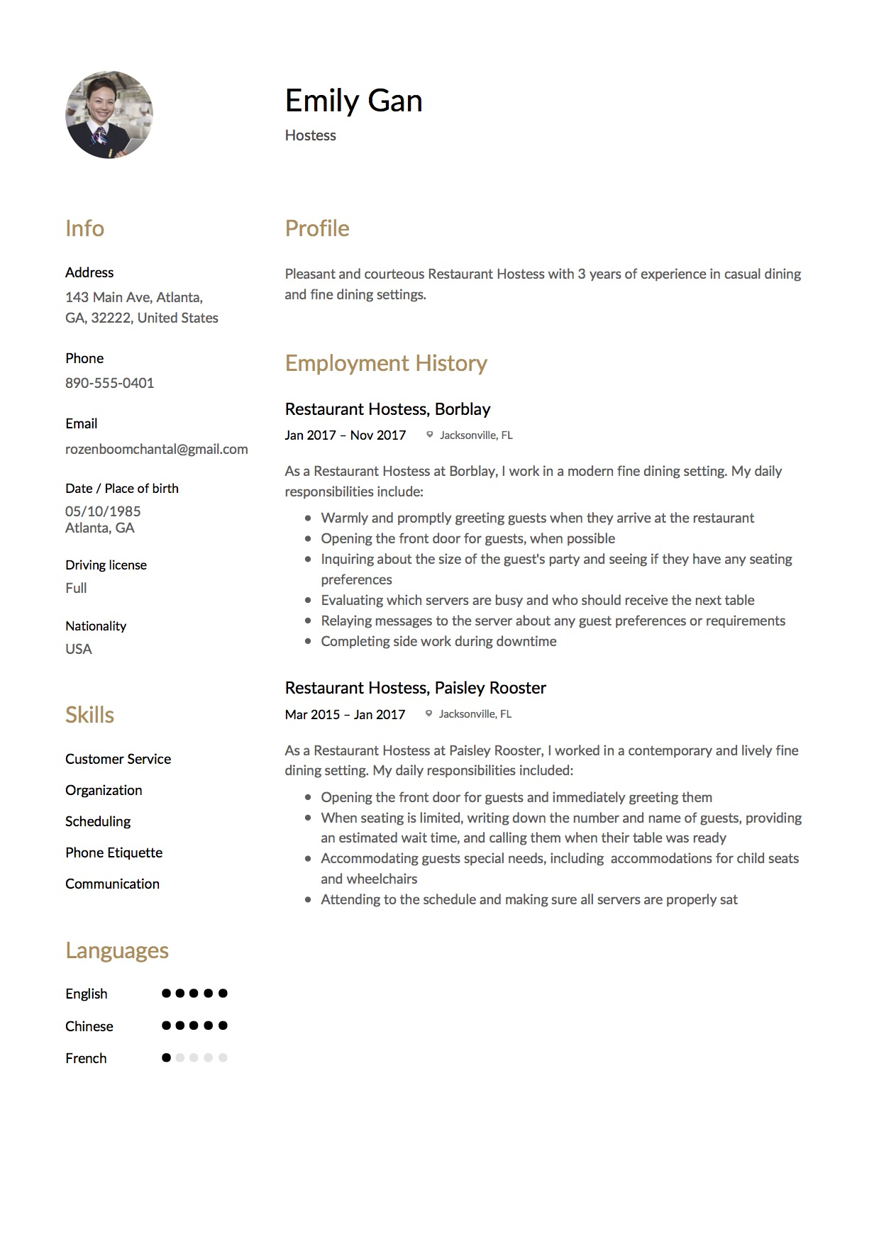 Resume Example Hostess Restaurant