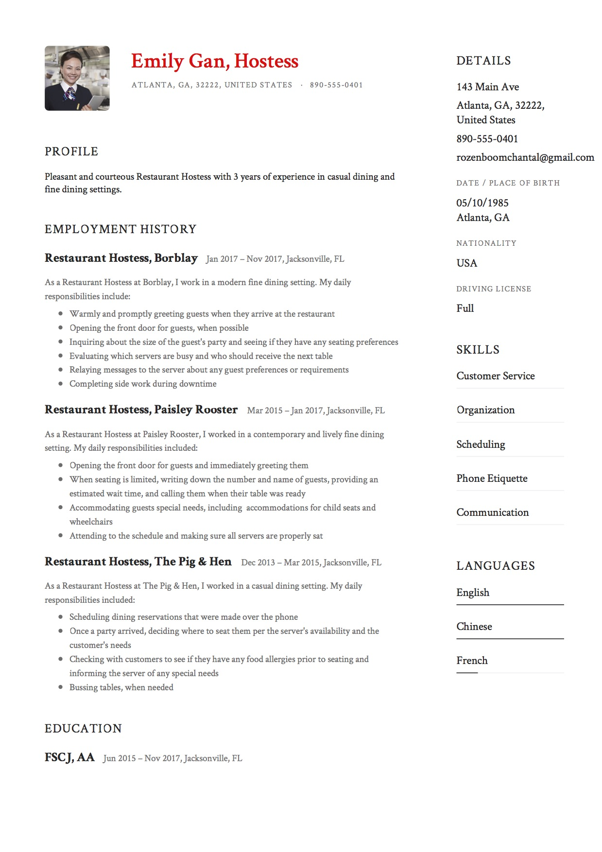 Resume Restaurant Hostess  Resume For Restaurant