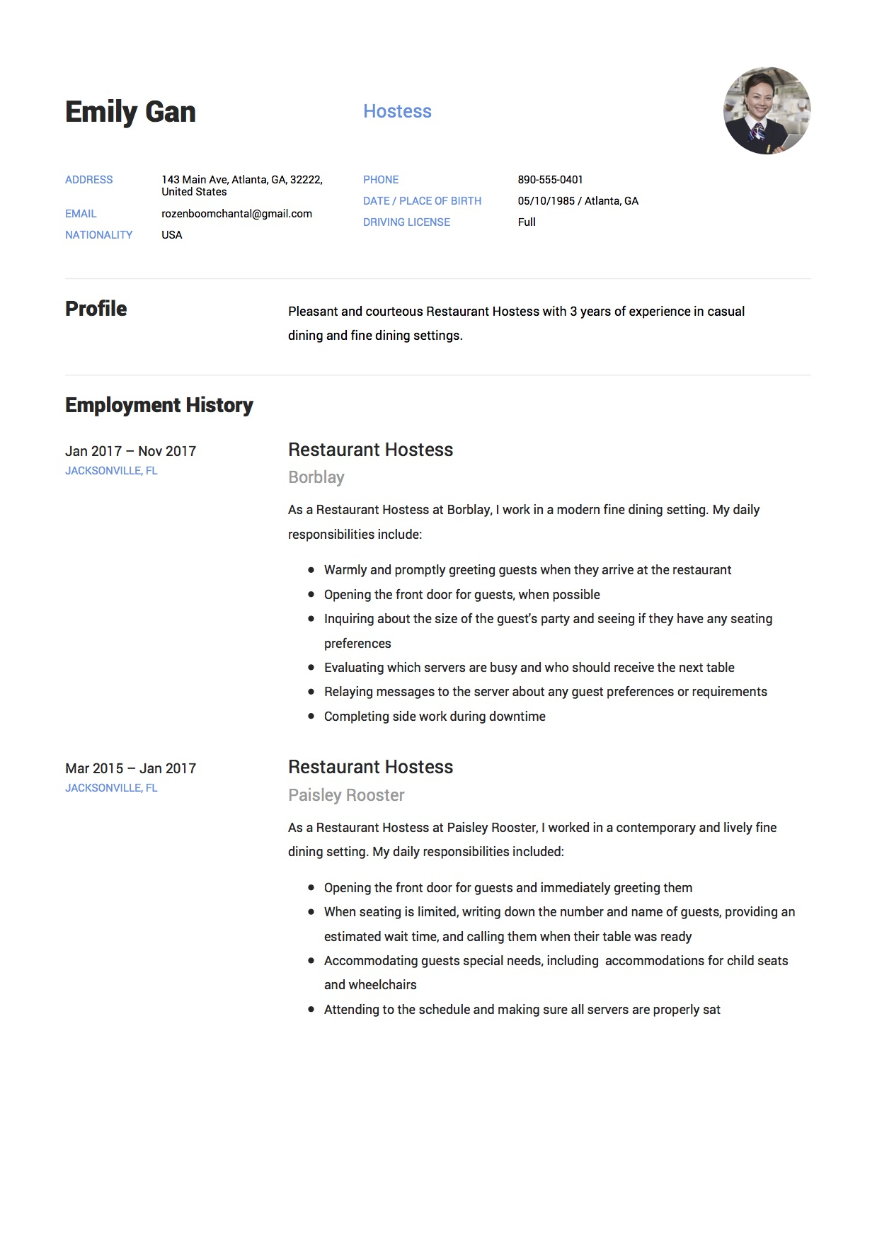 Restaurant Hostess Resume [ + 12 Samples ] | PDF Documents