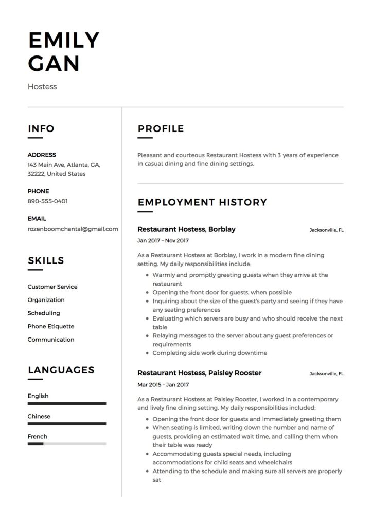 Free Restaurant Hostess Resume Samples  Different Designs