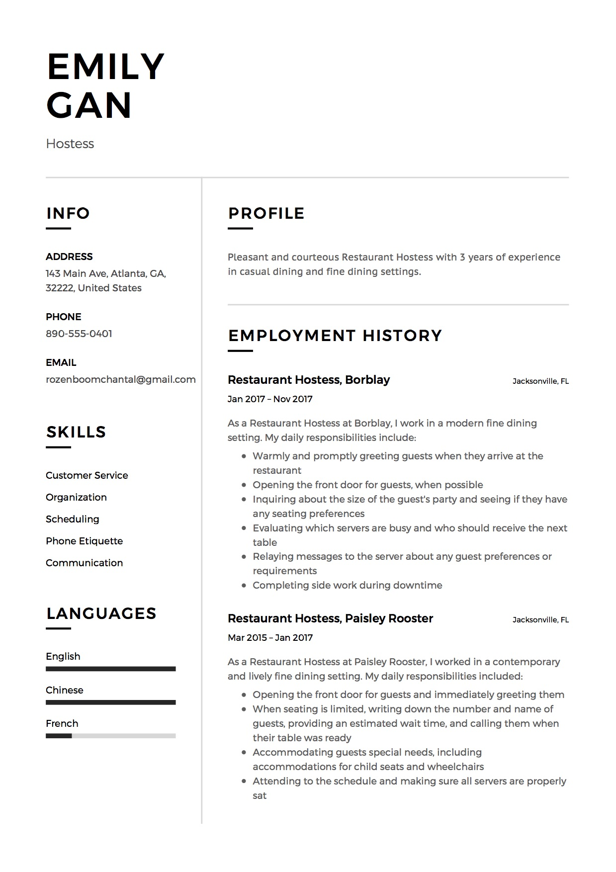Resume Template Restaurant Hostess