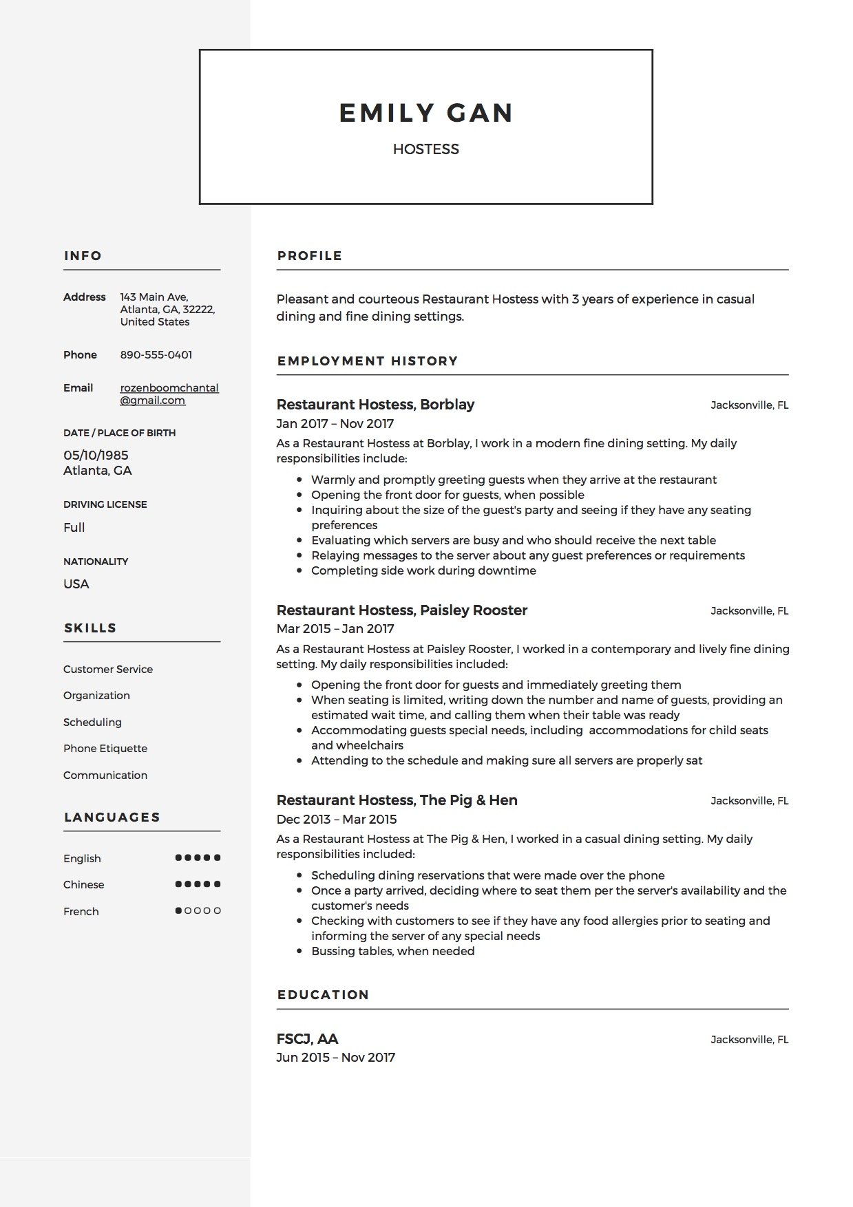 12 Restaurant Hostess Resume Sample S 2018 Free Downloads