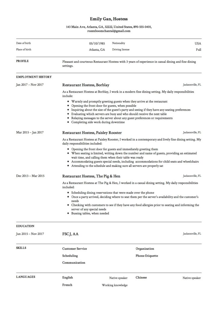 Resume Samples Hostess Restaurant