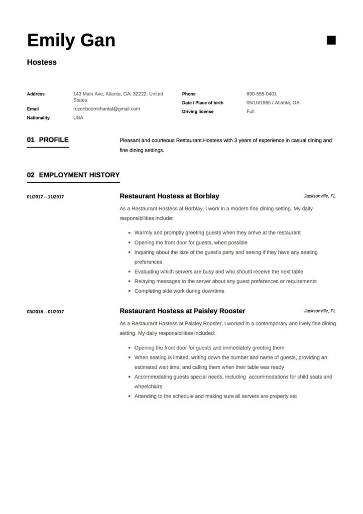 restaurant hostess resume     12 samples