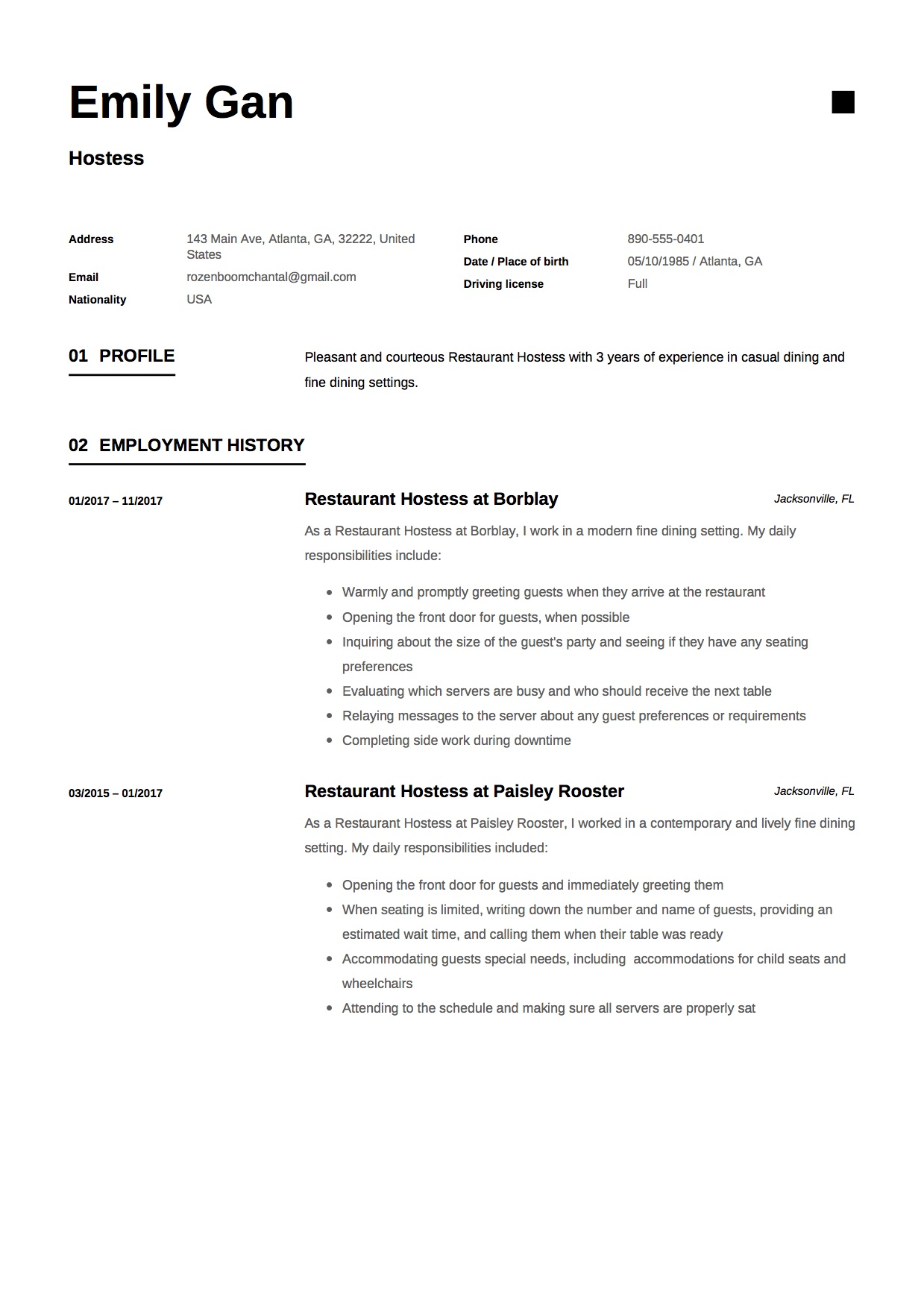 Resume For Hostess Job