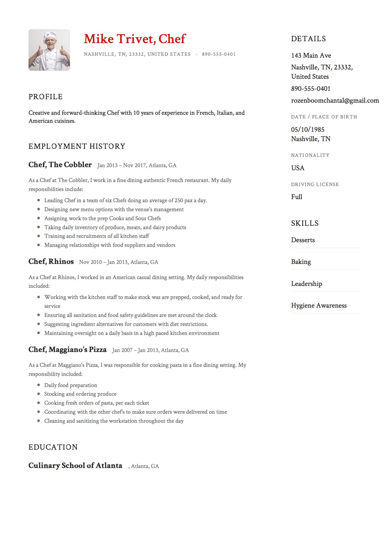 12 Chef Resume Sample S 12 Different Designs 2018