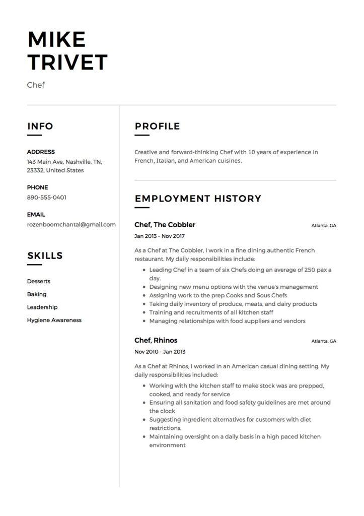 Resume Chef Restaurant Fine dining 1/2