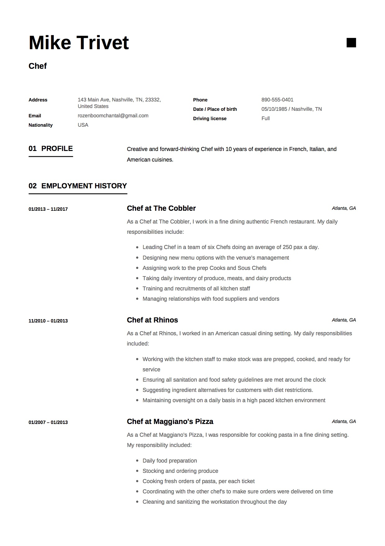 12 chef resume sample s    12 different designs
