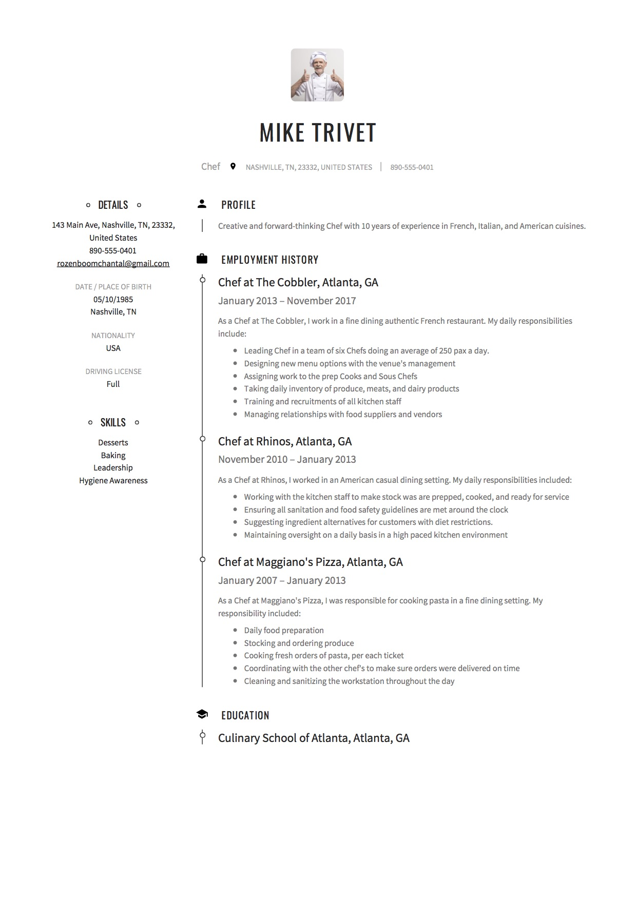 resume sample chef - Resume Sample Chef
