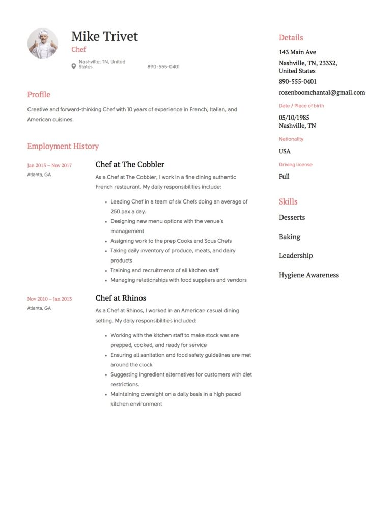 Full Guide Chef Resume 12 Samples Pdf Amp Word 2019
