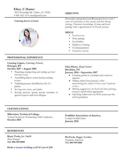 Server Resume Example