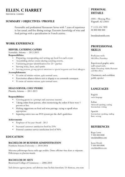 Server CV Word Template