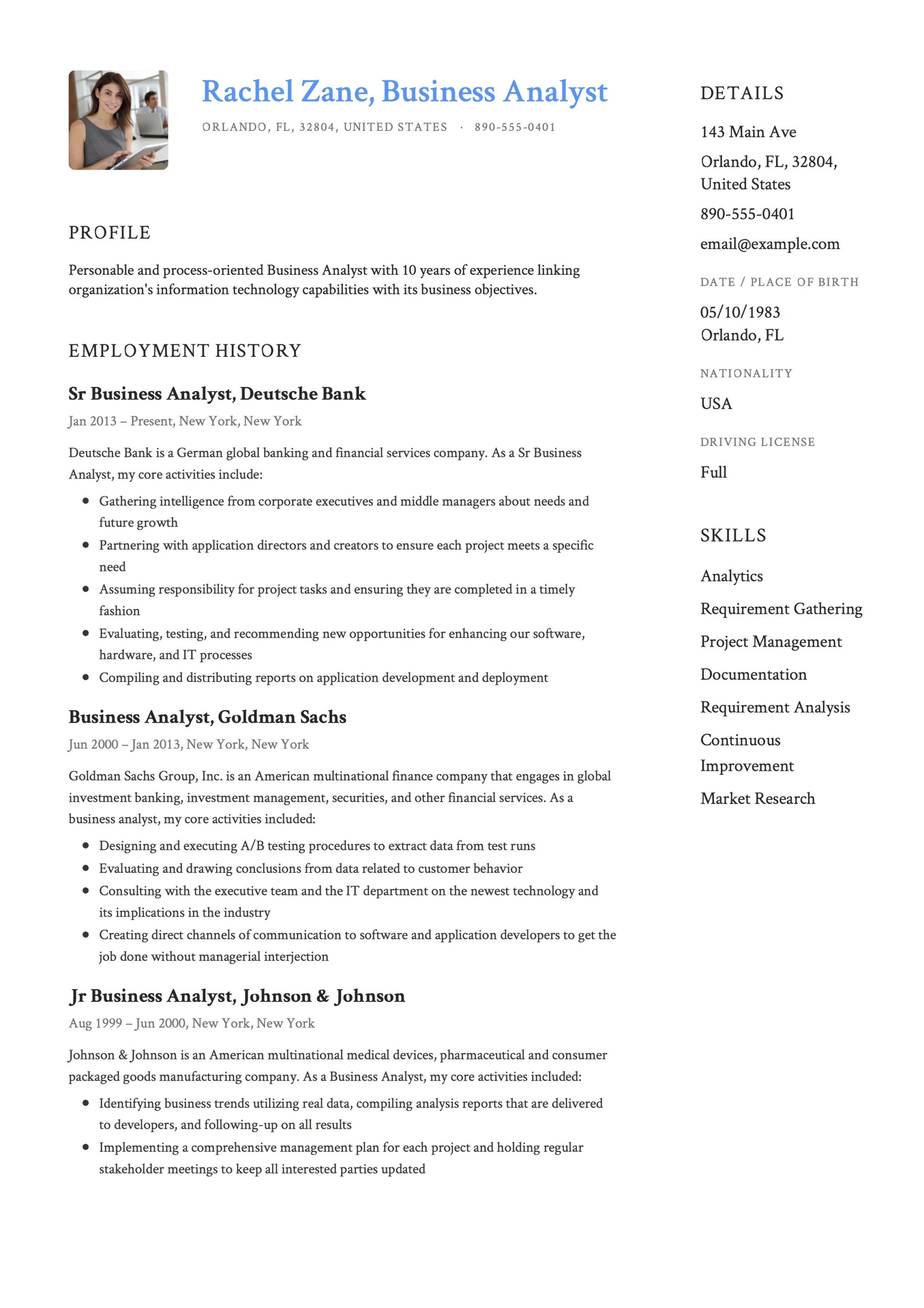 business analyst resume template
