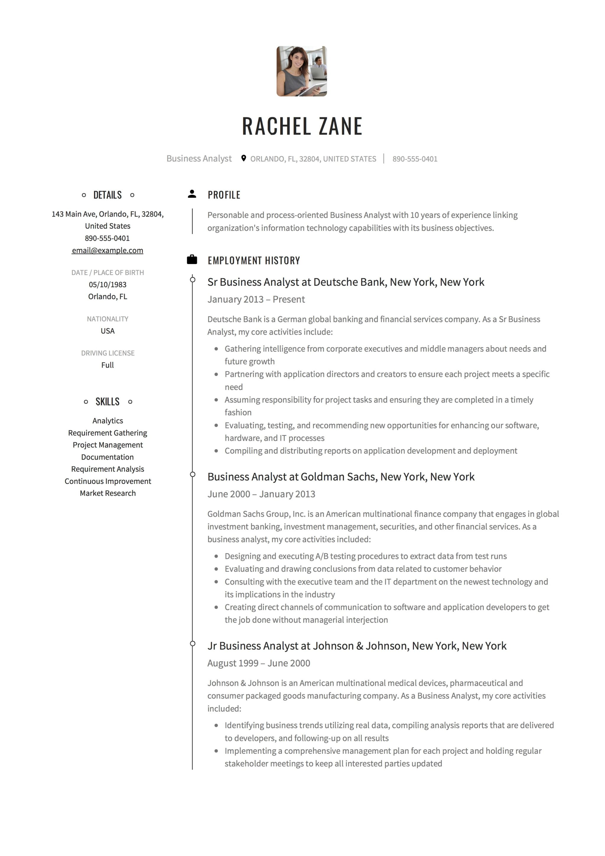 Business Analyst Resume Sample