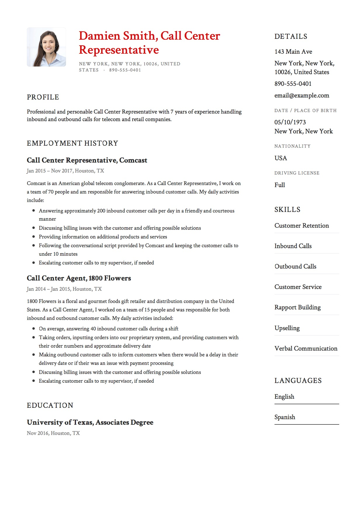 12 Call Center Representative Resume Sample S 2018 Free Downloads