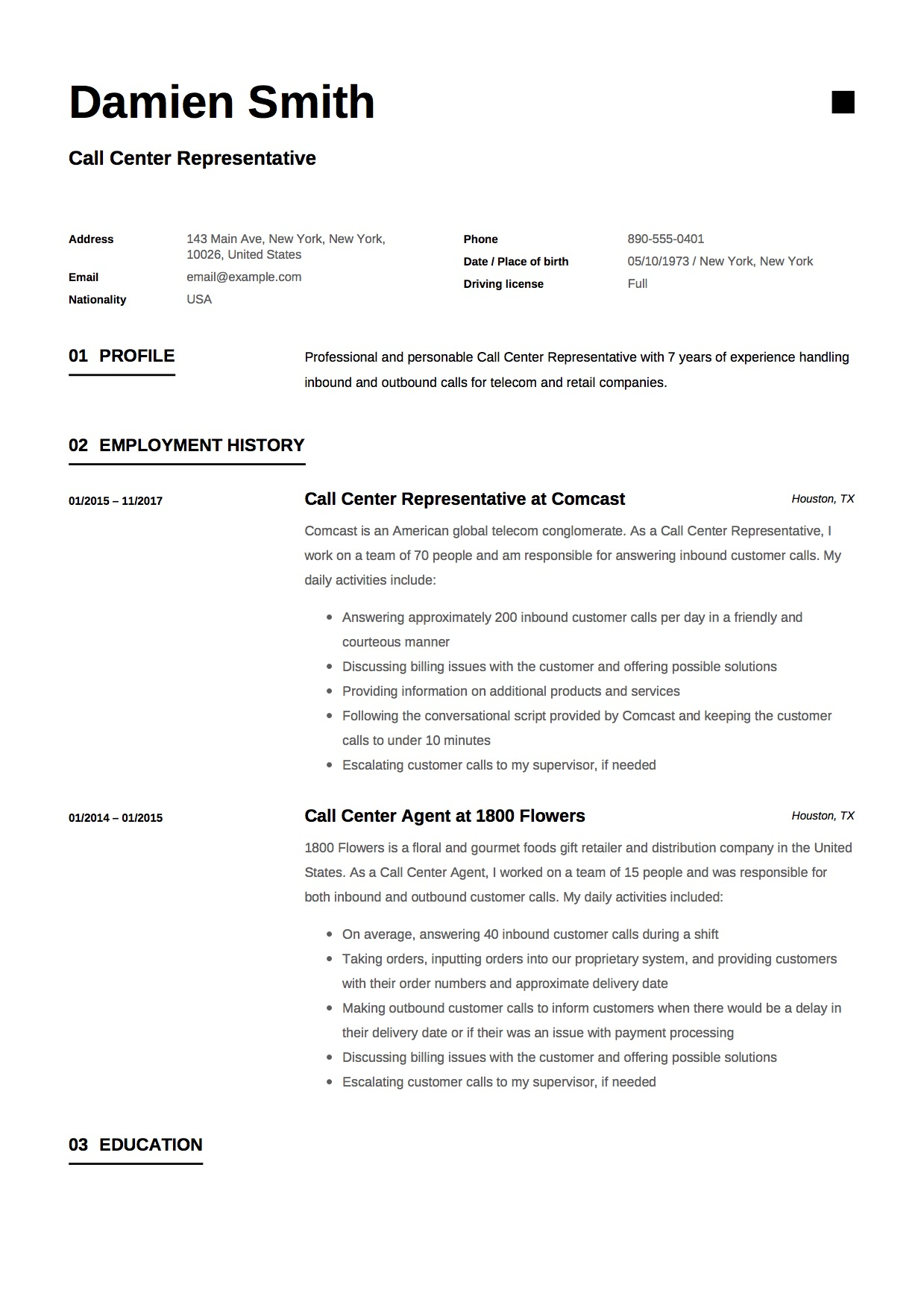 call center representative resume sample - Resume Samples Free Download