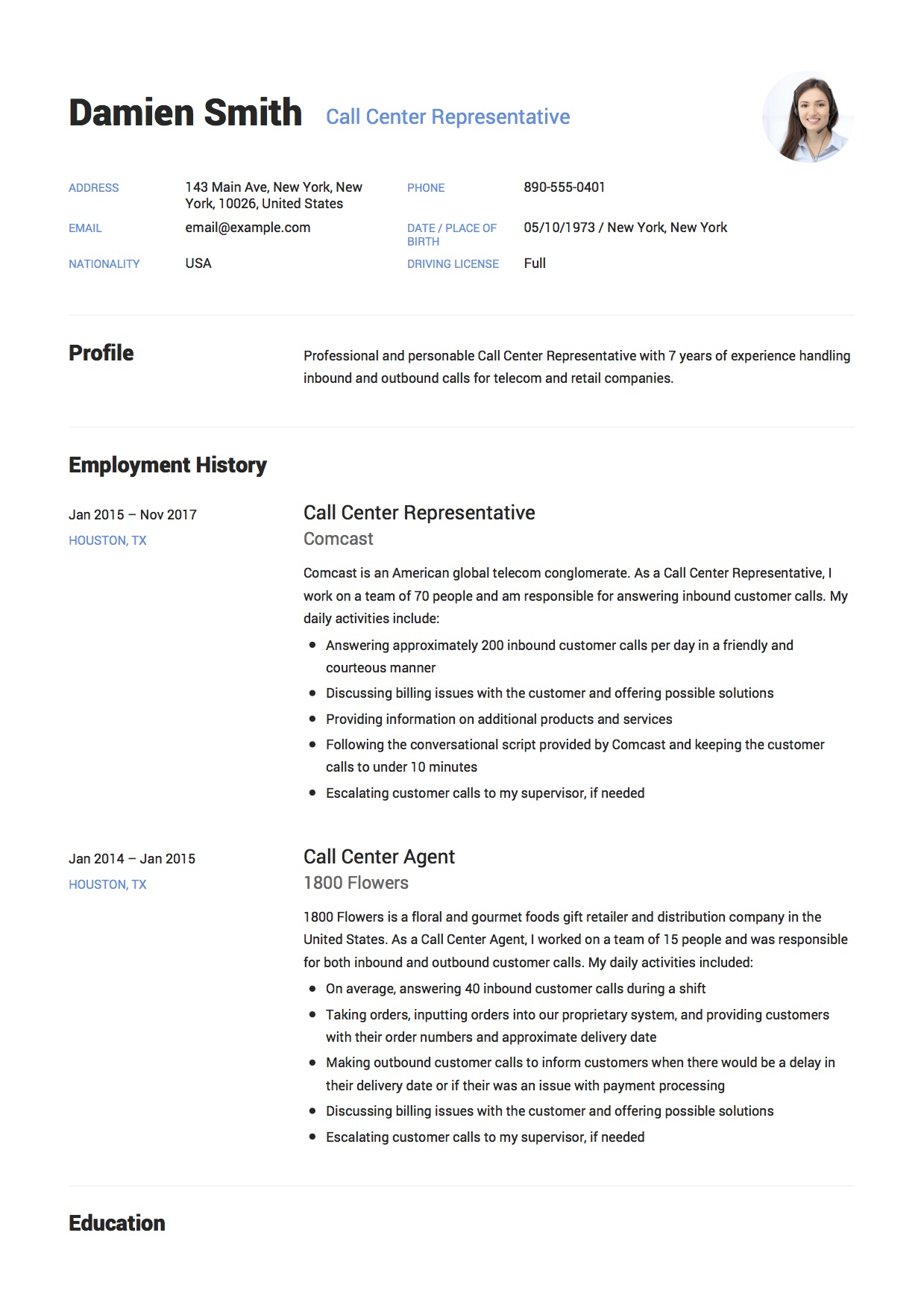 12 Call Center Representative Resume Sample(s) 2018 (Free Downloads)