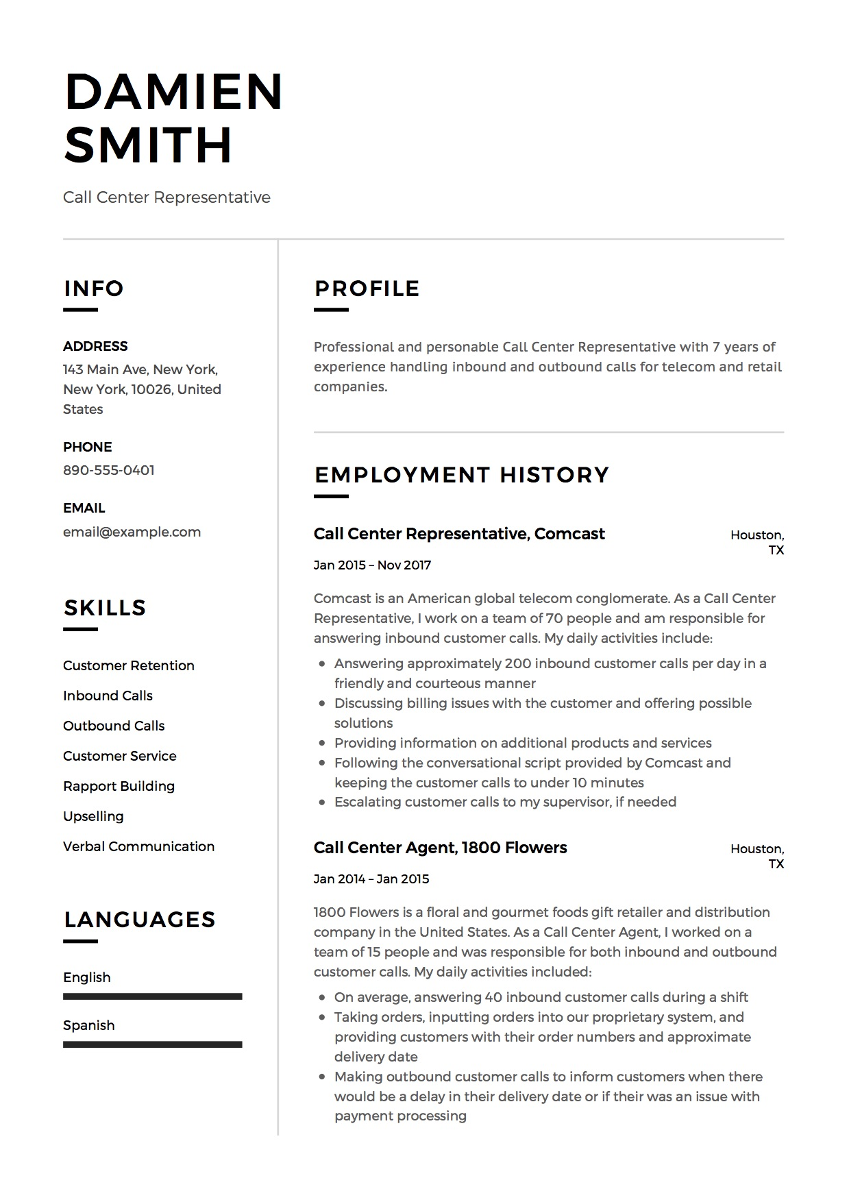 call center representative resume  u0026 guide