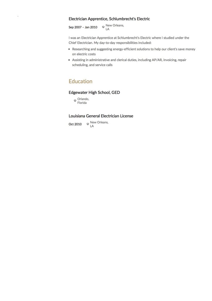 Damien Smith - Resume - Electrician