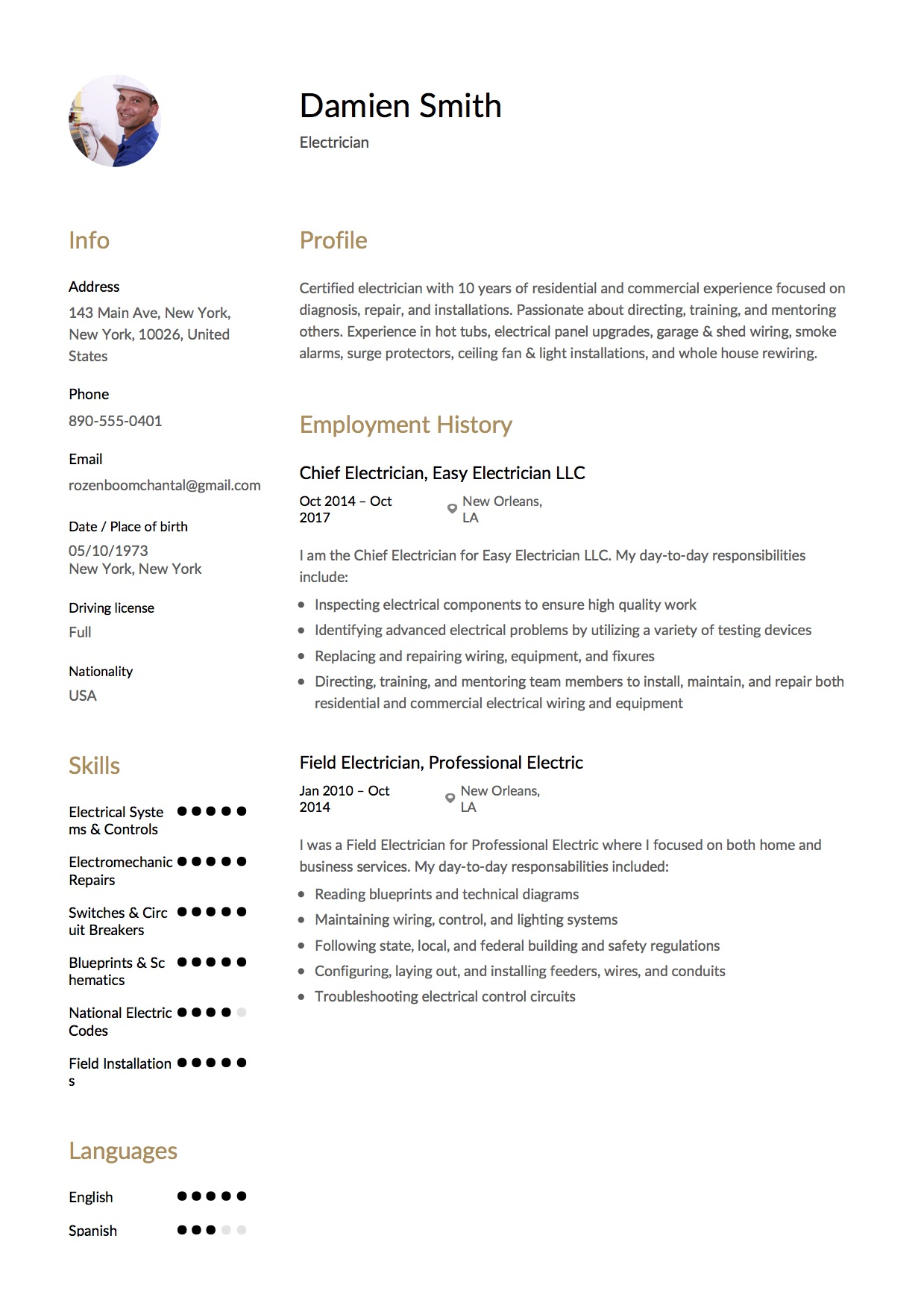 Damien Smith   Resume Electrician Example