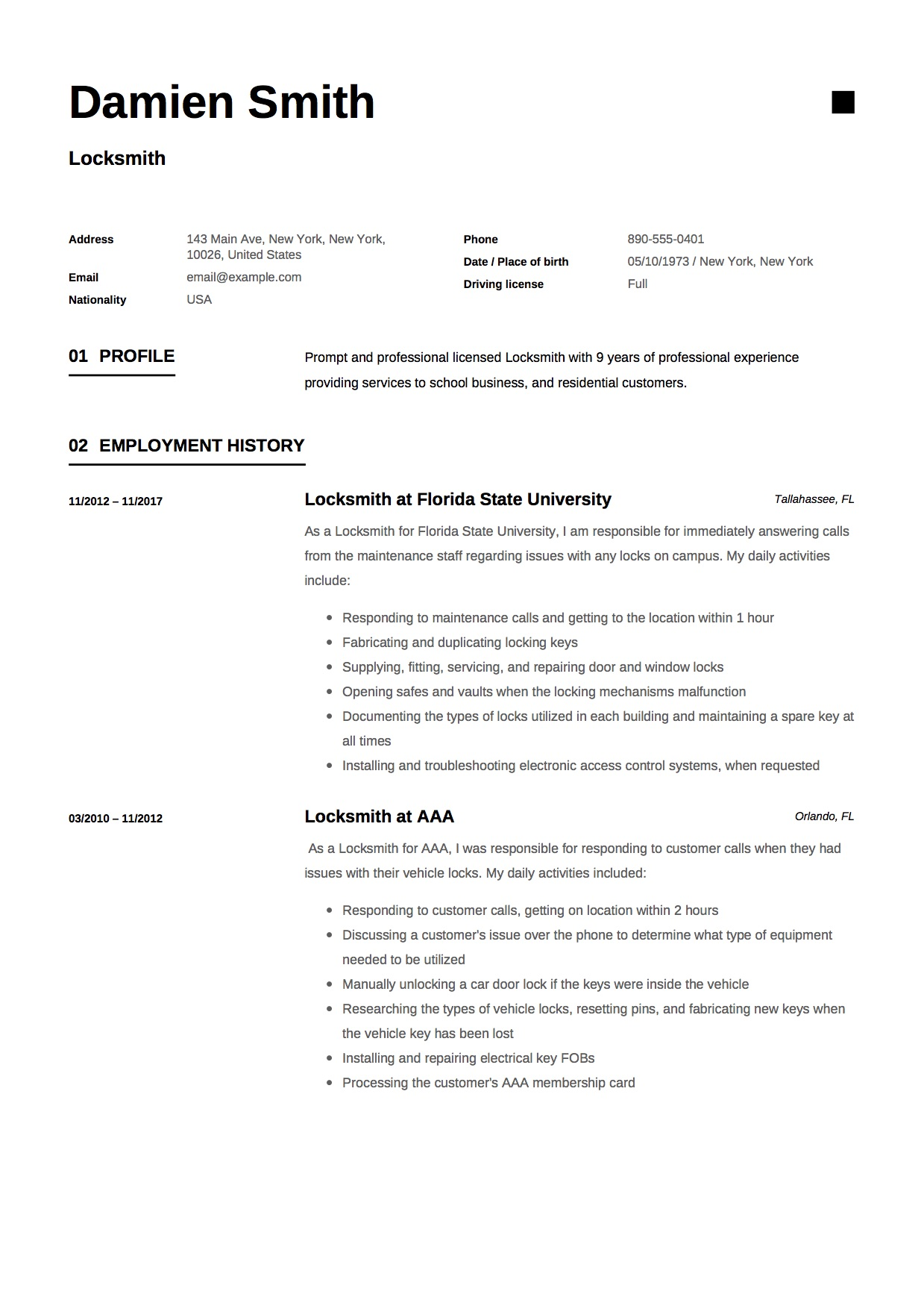 Locksmith Resume Amp Writing Guide 12 Samples Word