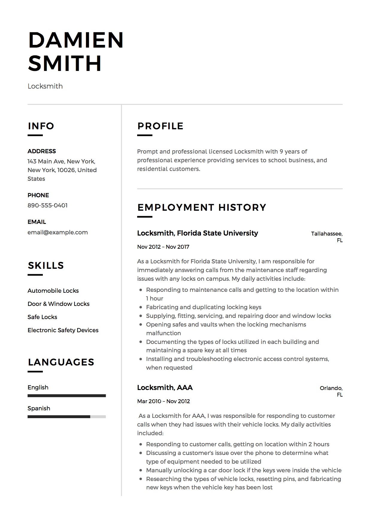 Resume Locksmith Design