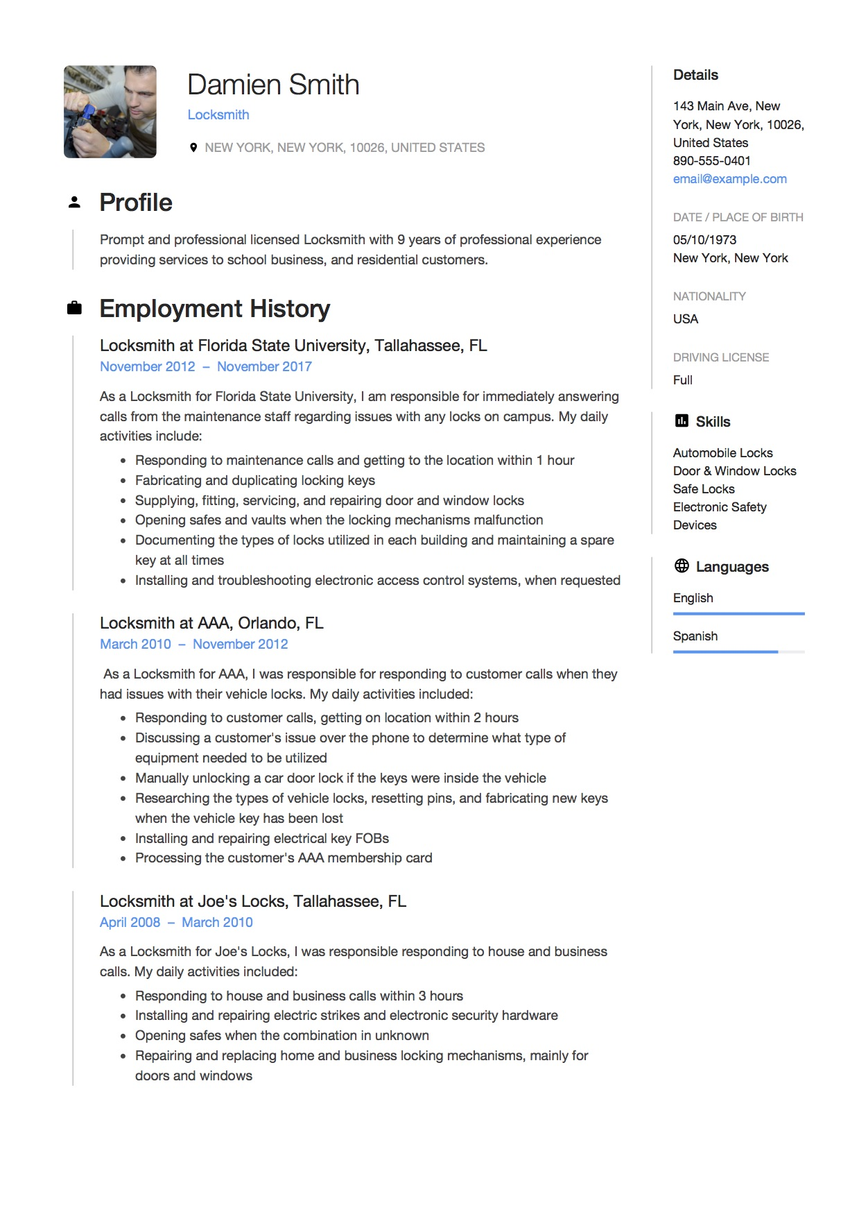 12 Locksmith Resume Sample(s) - 2018 (Free Downloads)