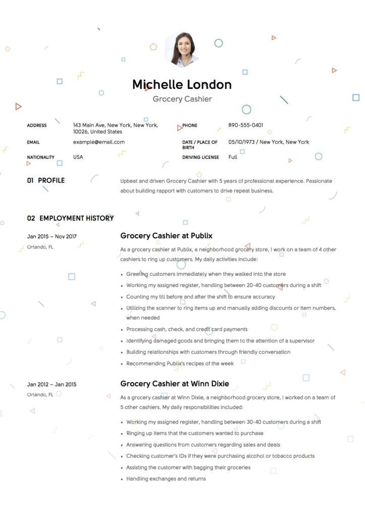 Creative Resume Grocery Cashier