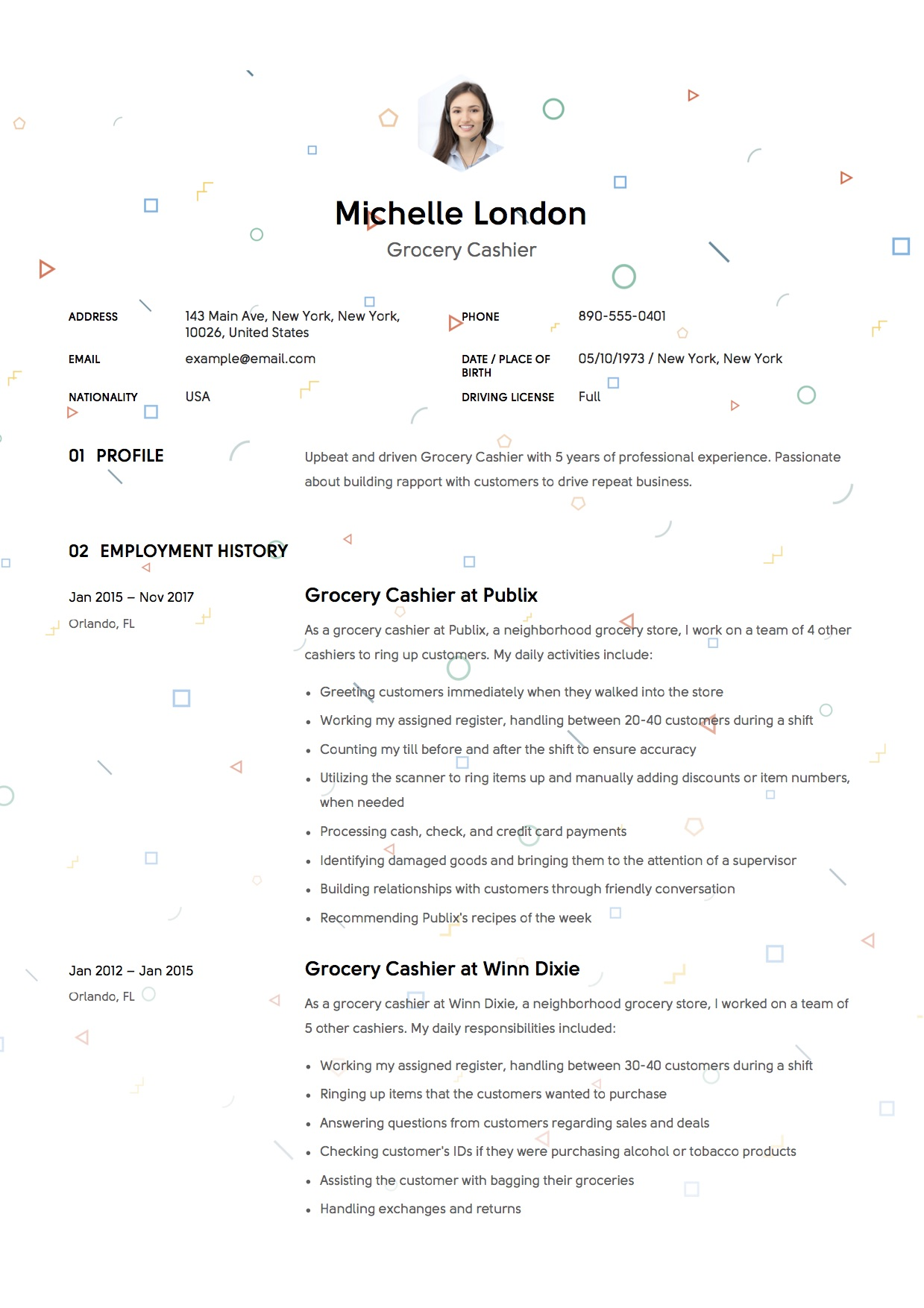 Design Resume Grocery Cashier