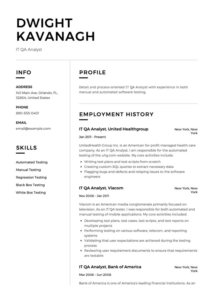 Guide: IT QA Analyst Resume [+12] Samples & Examples | PDF