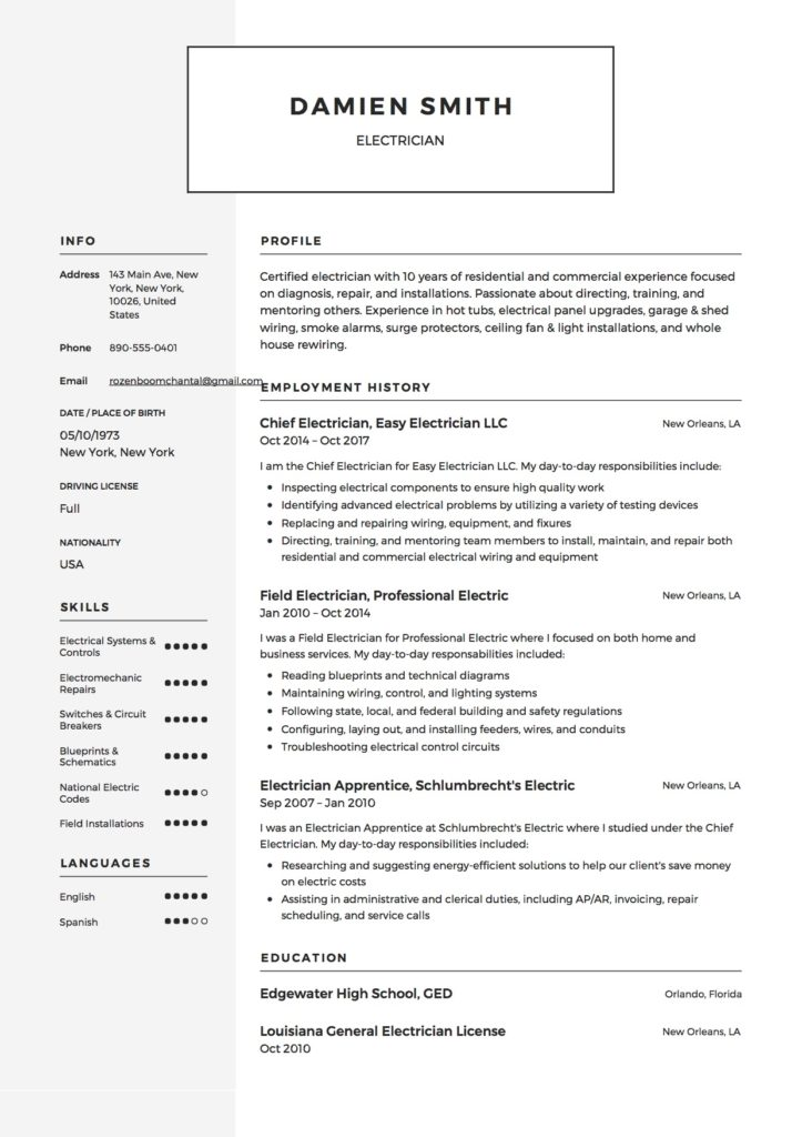 Guide: Electrician Resume Samples [+ 12 Examples ] | PDF & Word | 2019