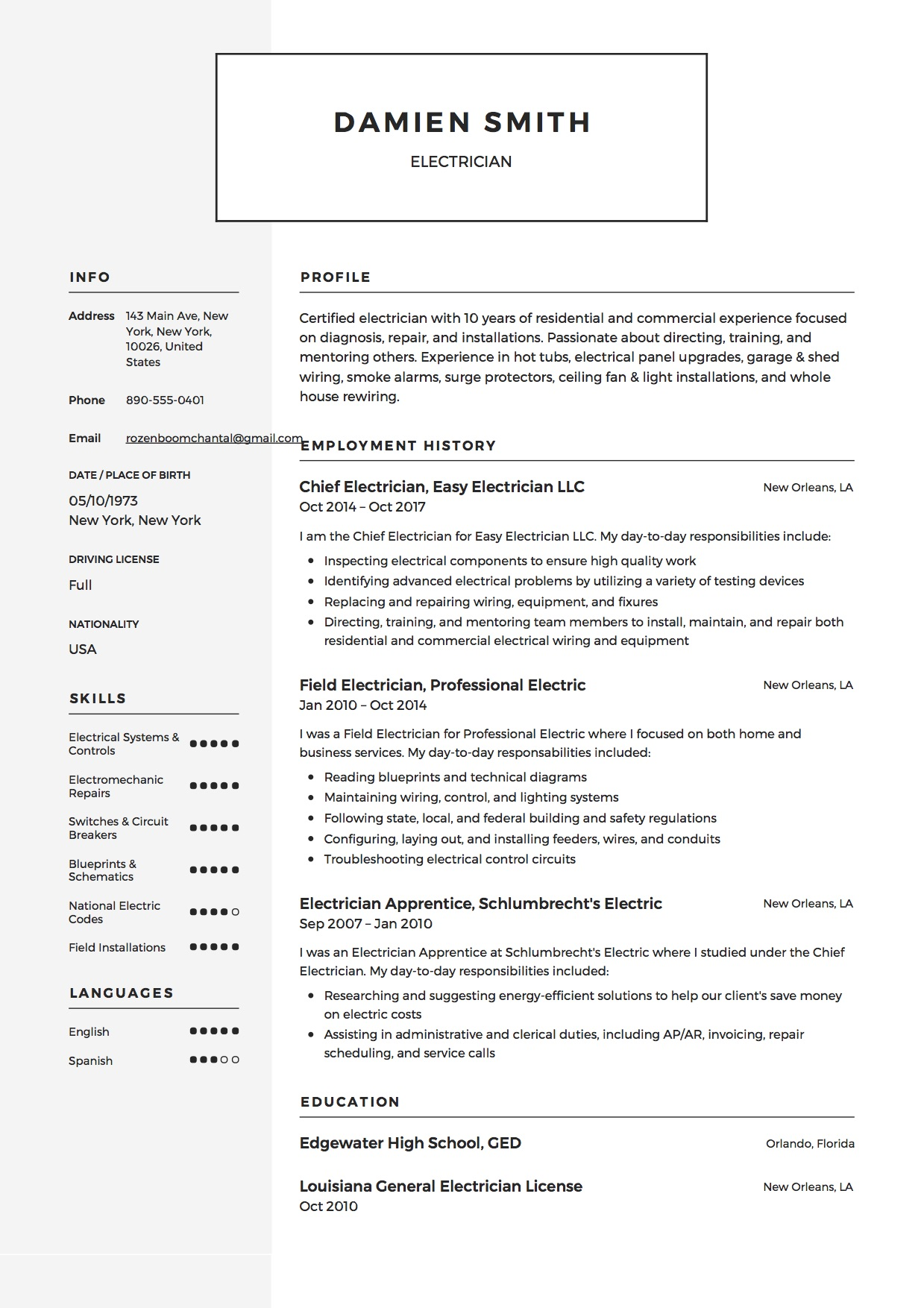 Electrician Resume Template Example