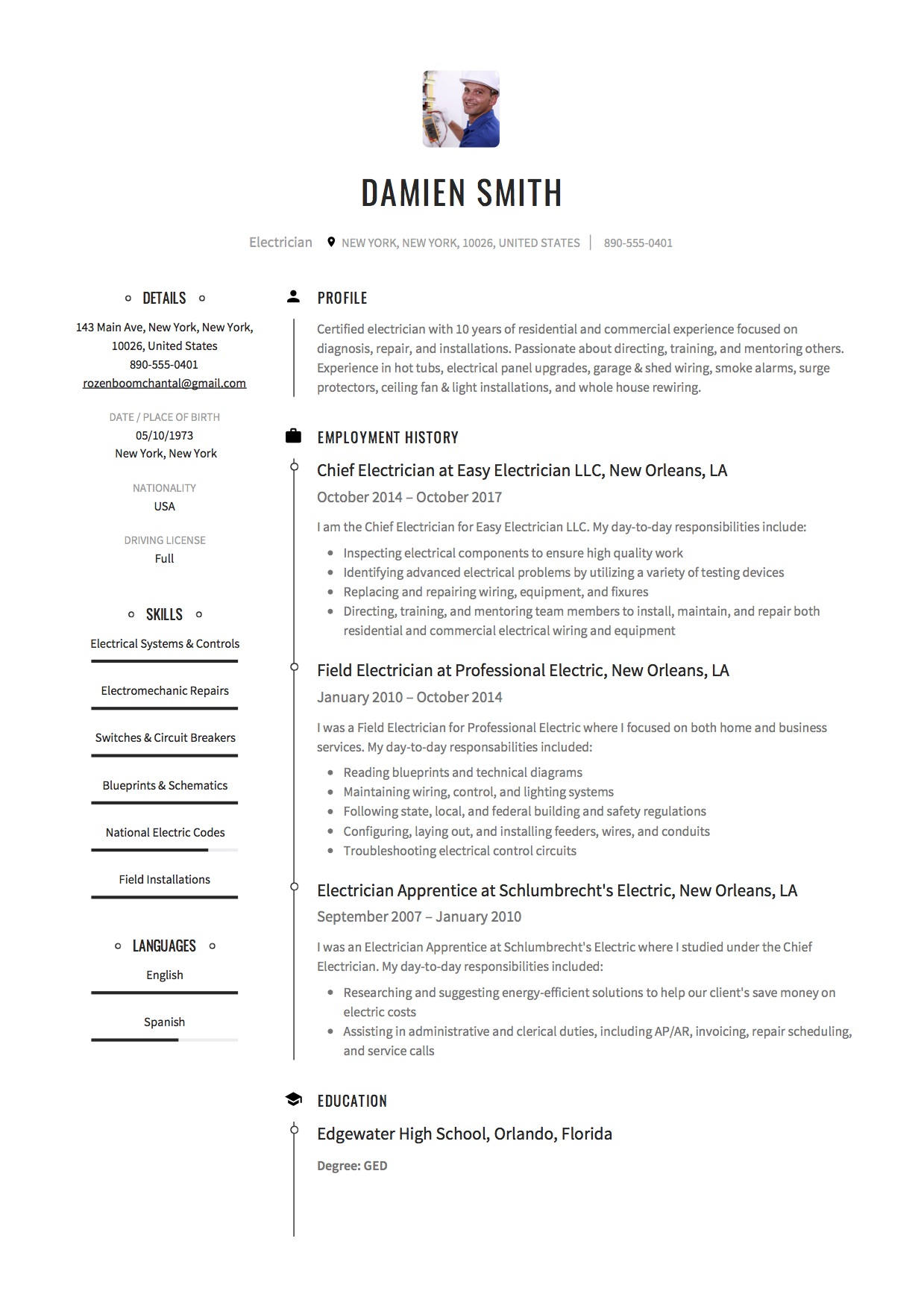 Electrician Resume Template  Electrician Resume Templates