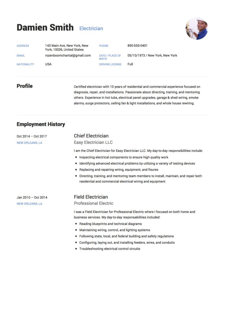 guide  electrician resume samples    12 examples
