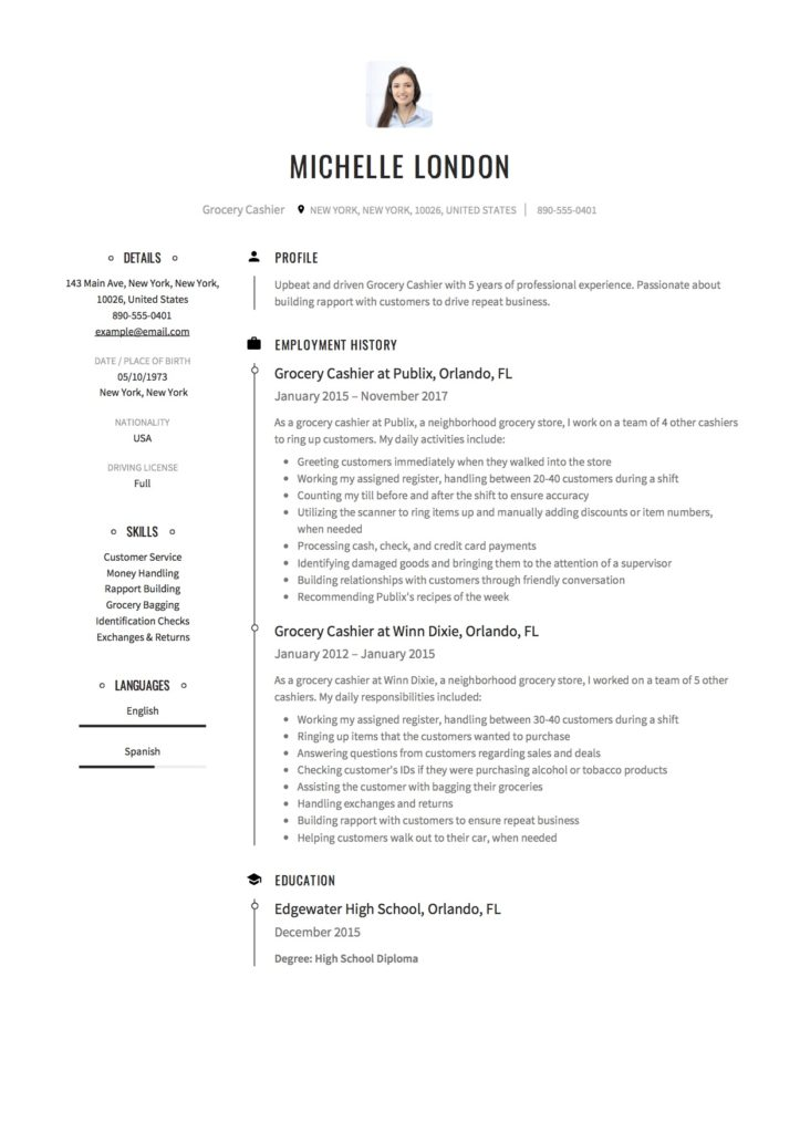 Creative Resume for a Grocery Cashier
