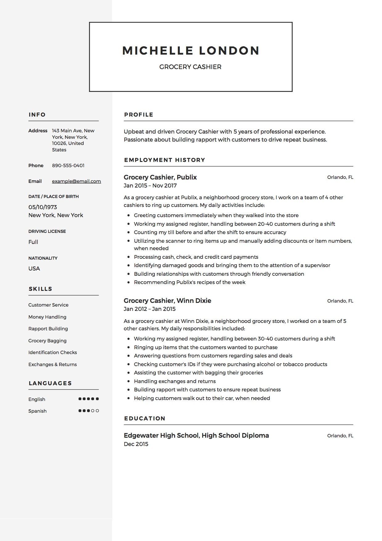 Grocery Cashier Resume Template