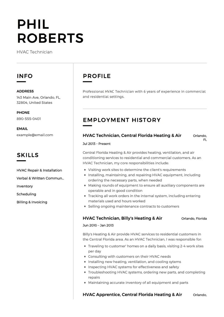 HVAC Technician Experiences Resume Example