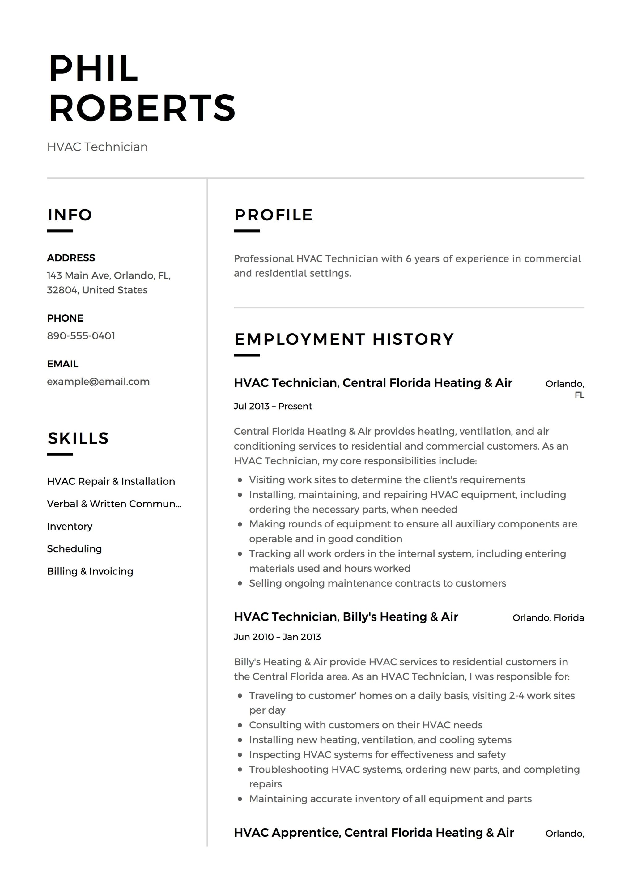 HVAC Technician Experiences Resume Example  Sample Hvac Resume
