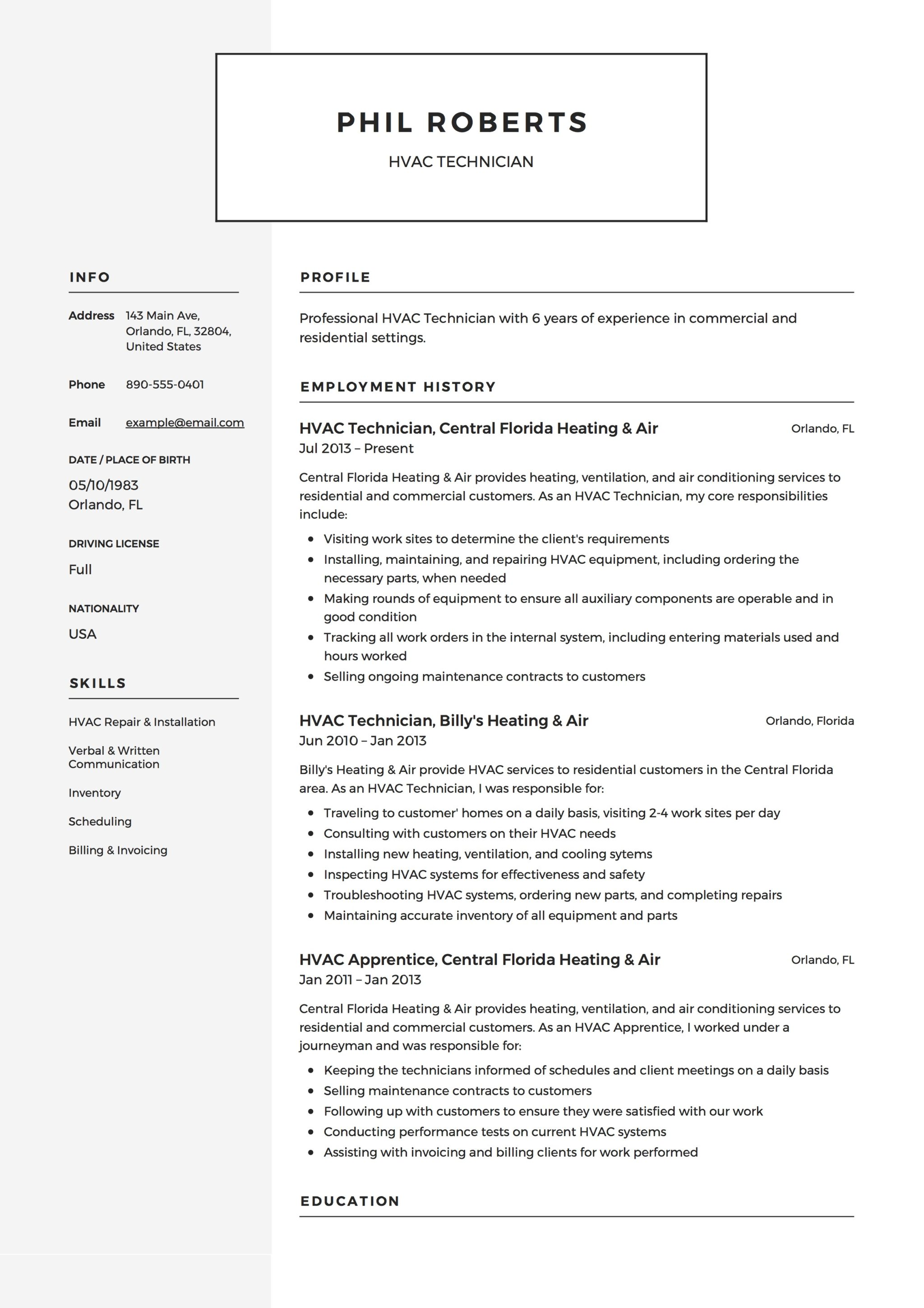 12 Free HVAC Technician Resume Samples ResumeVikingcom