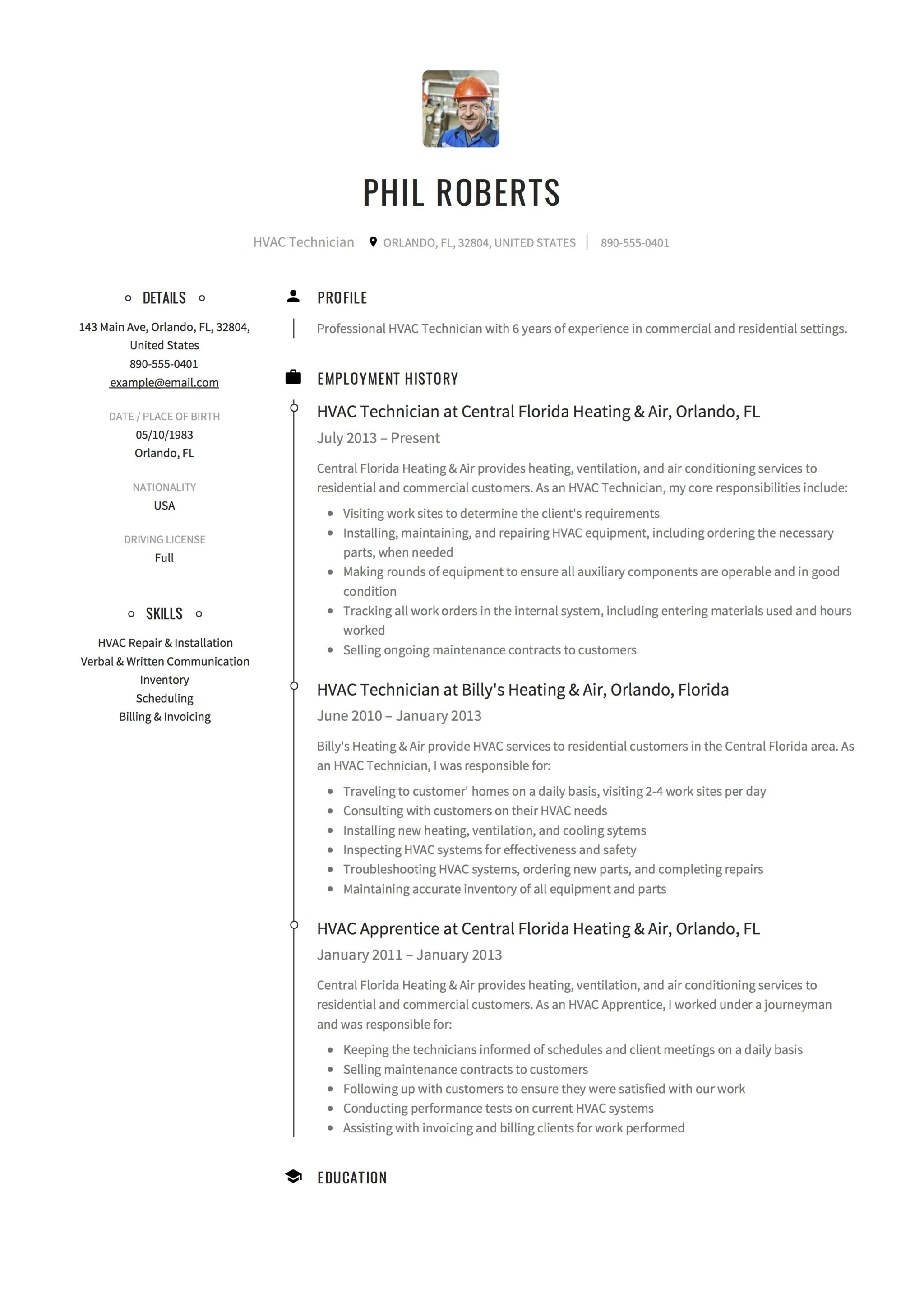 12 hvac technician resume sample s
