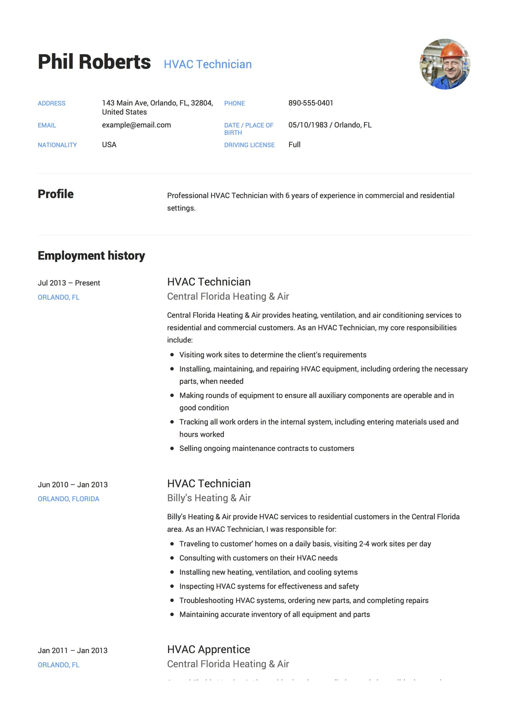 HVAC Technician Senior Resume Sample