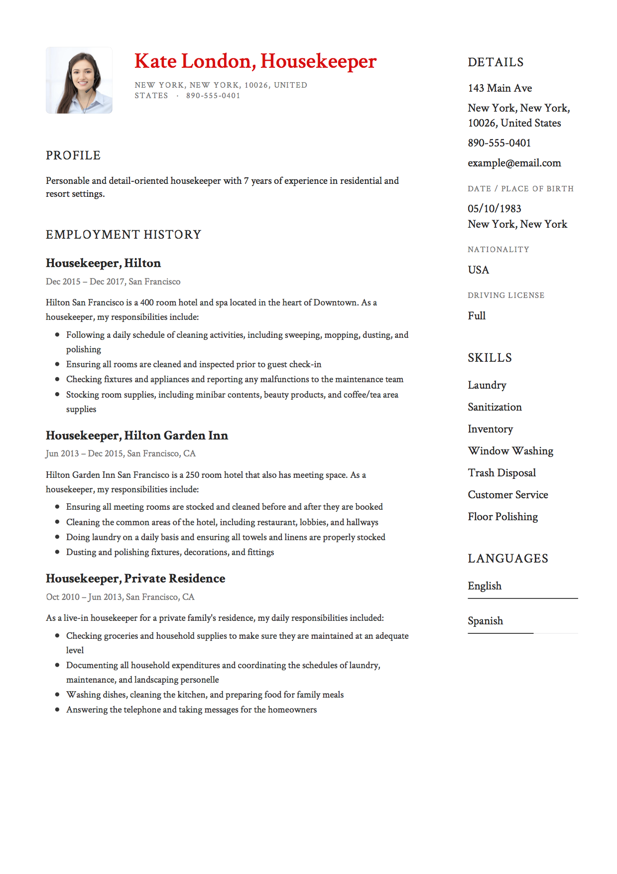 Housekeeper Resume Template
