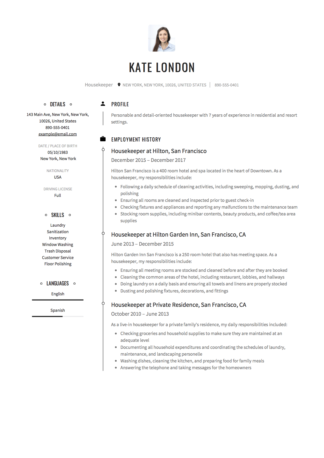 Housekeeping Resume Sample Housekeeper Cover Letter Luxury