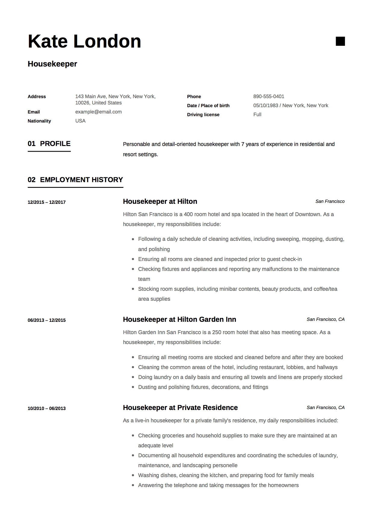 housekeeping attendant resume example