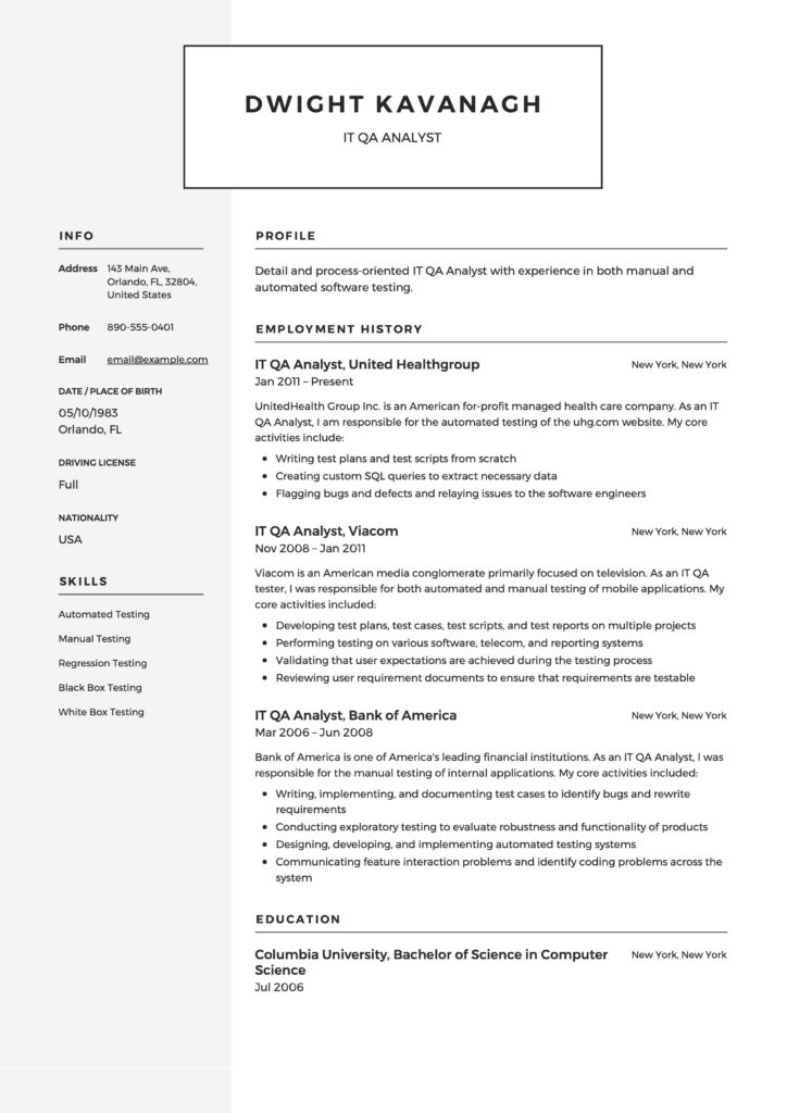 Guide IT QA Analyst Resume 12 Samples Examples PDF 2019